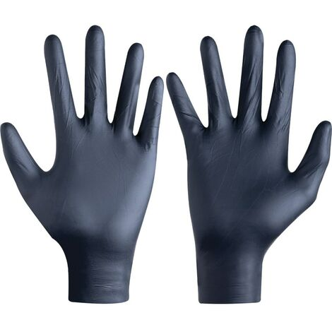 Disposable Gloves, Black Nitrile, For General Use (Pk-100)