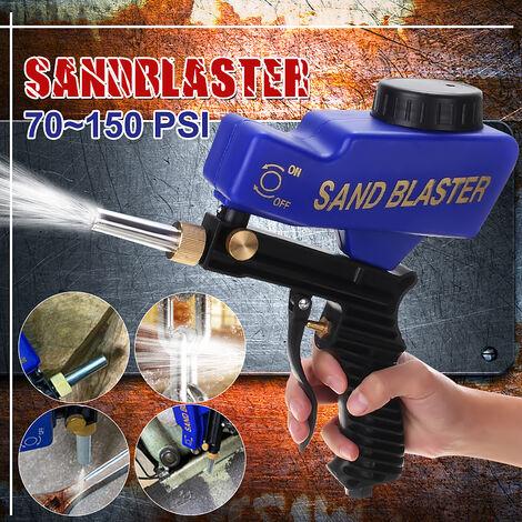 Dispositif de machine de sablage au jet de sable à air portable 70-150 PSI pour enlever l'outil de dérouillage de rouille de tache (bleu)