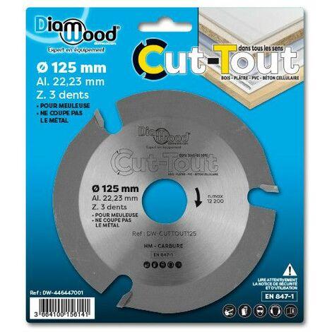 Lame disque multifonctions HM CUT-TOUT D. 125 x Al. 22,23 x ép. 2.8/2.2 mm x Z3 pour bois, plâtre, PVC - Diamwood