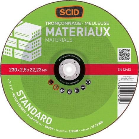 Matériaux Disque à tronçonner standard SCID Alésage 22,2mm Diam.115mm
