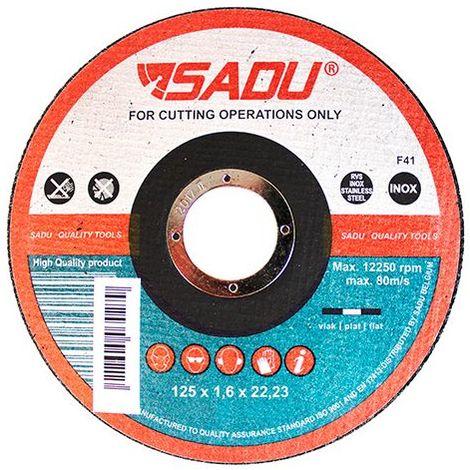 Disque à tronçonner MP AT 46 D. 125 x 1,6 x 22,23 mm - Acier inoxydable / Métal - 010355B - Sadu - -