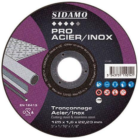 Disque à tronçonner PRO ACIER INOX D. 115 x 2,5 x Al. 22,23 mm - Acier, Inox - 10111016 - Sidamo - -