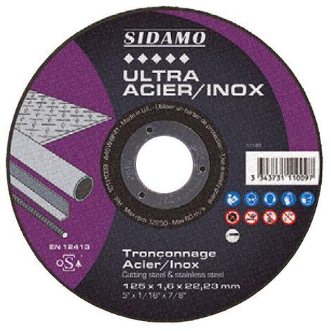 Disque à tronçonner ULTRA ACIER INOX D. 230 x 2 x Al. 22,23 mm - Acier, Inox - 10111010 - Sidamo - -