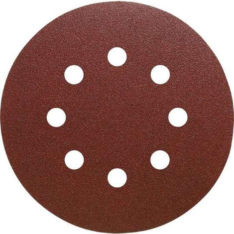Disque abrasif velcro 8 trous 150 mm Grain 240 - Qualité Pro (50 pièces) !