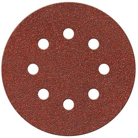 Disque auto-agrippant SCID - 8 trous - Grain 80 - Diamètre 125 mm - Vendu par 5