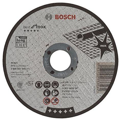 Disque BEST à tronçonner BOSCH à moyeu plat Spécial inox 125X2.5 MM - 2608603504