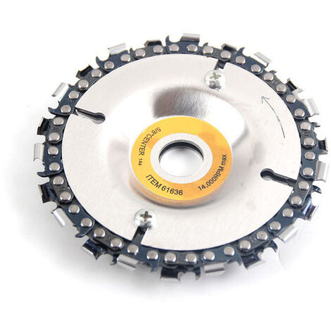 Disque de chaine de meuleuse d'angle avec vis de fixation Disque de chaine de travail du bois Disque de meuleuse de 4 pouces et jeu de chaine de 22 dents pour meuleuse d'angle 100/115