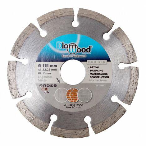 Disque diamant 115 x Al. 22,23 x Ht. 7 mm béton, matériaux de construction - BUILDER - Diamwood