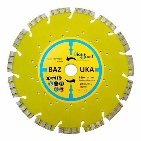 Disque diamant 230 x Al. 22,23 x Ht. 10 mm béton armé, béton, matériaux de construction - BAZOUKA - Diamwood