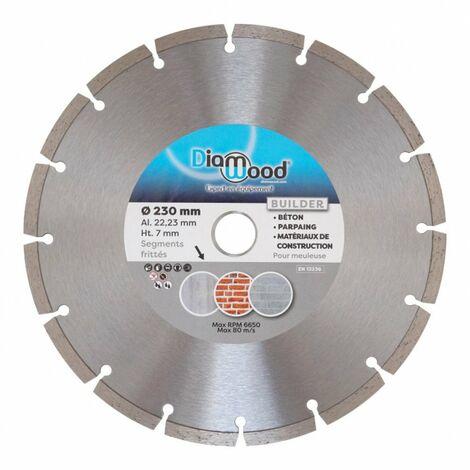 Disque diamant 230 x Al. 22,23 x Ht. 7 mm béton, matériaux de construction - BUILDER - Diamwood