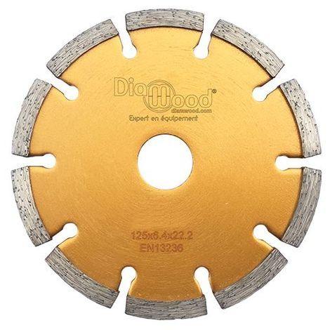 Disque diamant à déjointoyer D. 125 x Al. 22,23 x Ht. 7 x ép. 6,4 mm - béton, matériaux de construction - Diamwood - -
