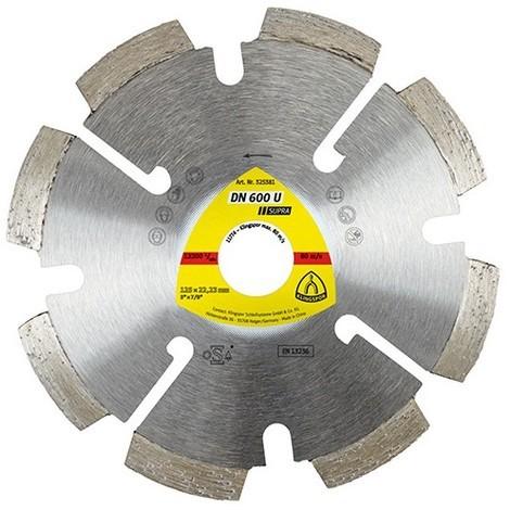 Disque diamant à déjointoyer SUPRA DN 600 U D. 125 x 4,5 x Ht. 7 x 22,23 mm - Joint / Mortier / Crépi - 325381 - Klingspor