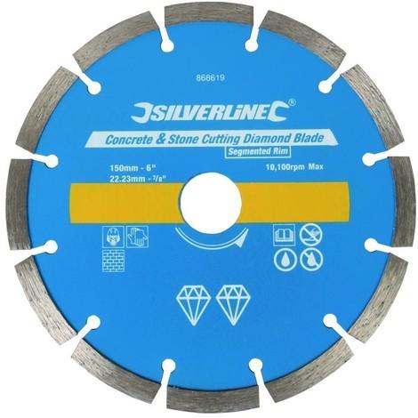 Disque diamant à tronçonner le béton et la pierre 150 x 22,23 mm à bordure segmentée