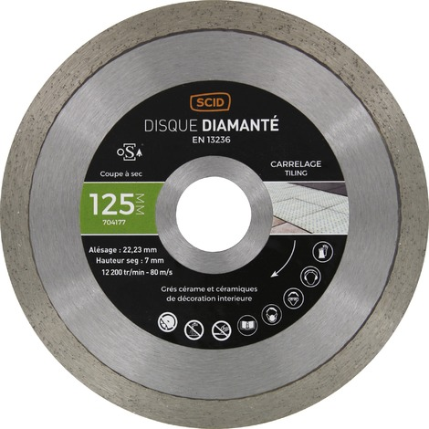 Disque diamant à tronçonner usage intensif - Carrelage - SCID