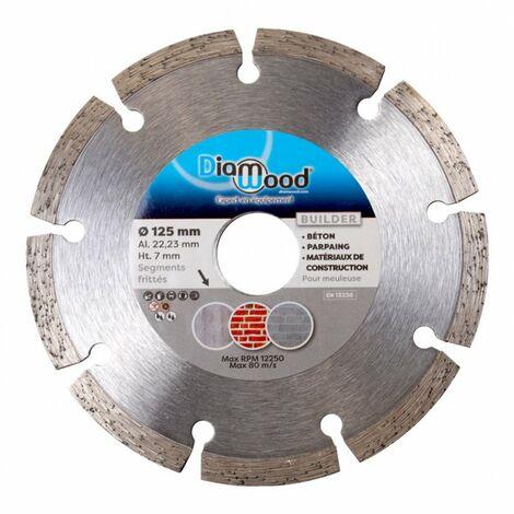 Disque diamant béton BUILDER D. 125 x Al. 22,23 x Ht. 7 mm - béton, parpaings, matériaux de construction - Diamwood