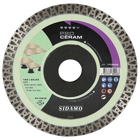 Disque diamant jante continue matériaux de décoration Pro Céram diamètre 125 mm, épaisseur 1,4 mm, alésage 22,2 mm