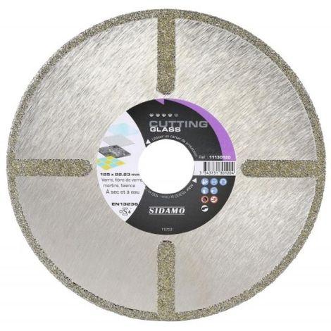 Disque diamant jante continue verre Cutting Glass diamètre 125 mm, épaisseur 2,5 mm, alésage 22,2 mm