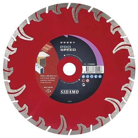 Disque diamant jante segmentée matériaux de construction Pro Speed diamètre 230 mm, épaisseur 2,6 mm, alésage 22,2 mm