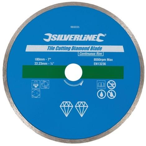Disque diamant pour carreaux, 180 x 22,23mm à bordure continue