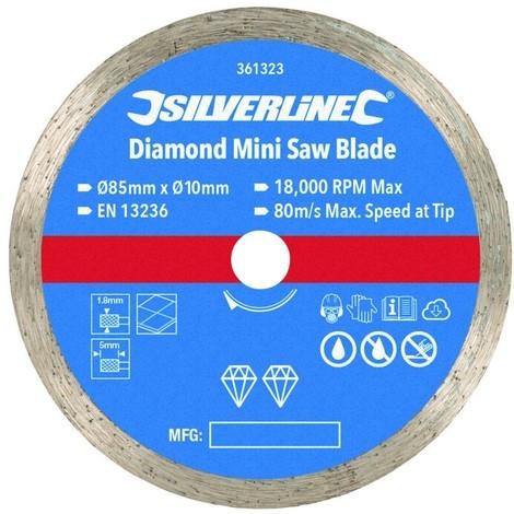Disque diamant pour mini-scie ø 85 mm - Alésage 10 mm