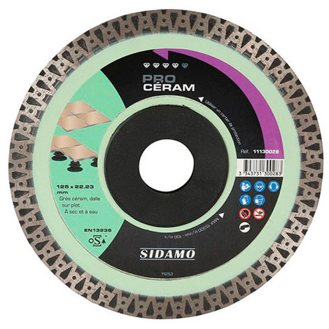 Disque diamant PRO CÉRAM D.230 x 22,23 x H 10 mm Grès céram / dalle - 11130029 - Sidamo