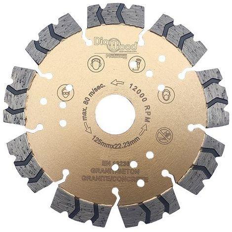 Disque diamant pro PREDATOR D. 125 x Al. 22,23 x Ht. 12 mm - béton armé, granite, acier - Diamwood Platinum