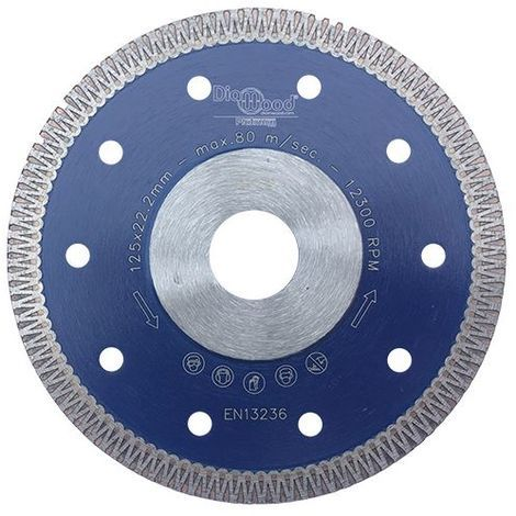 Disque diamant pro SCORPION D. 125 x Al. 22,23 x Ht. 8,5 x ép. 1,3 mm - grès cérame, granite, marbre - Diamwood Platinum - -