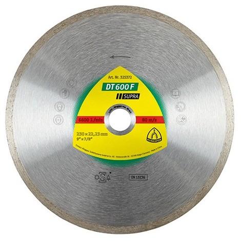 Disque diamant SUPRA DT 600 F D. 230 x 1,9 x Ht.7 x 22,23 mm - Grès cérame / Faïence / Carrelage - 325372 - Klingspor