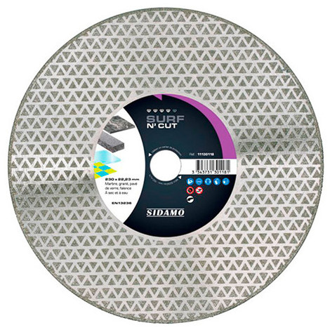 Disque diamant SURF N' CUT D. 230 x M14 x H 3 mm Marbre / granit - 11130119 - Sidamo