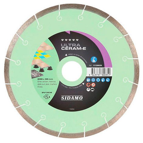 Disque diamant ULTRA CÉRAM-E D. 250 x 30 x H 8 mm Grès céram / faïence - 11130099 - Sidamo - -