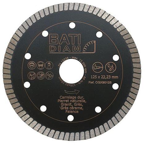 Disque diamant ultra fin D. 125 x Al 22,23 x Ep 1,2 mm - Spécial carreleur - Grès cérame, pierre naturelle - CGX90125 - BATIDIAM - -