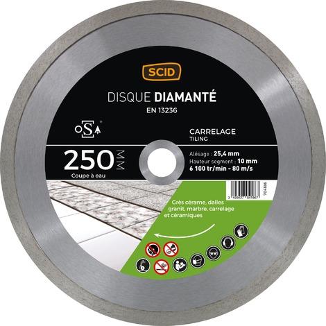 Disque diamanté carreleur professionnel SCID - Diamètre 250 mm