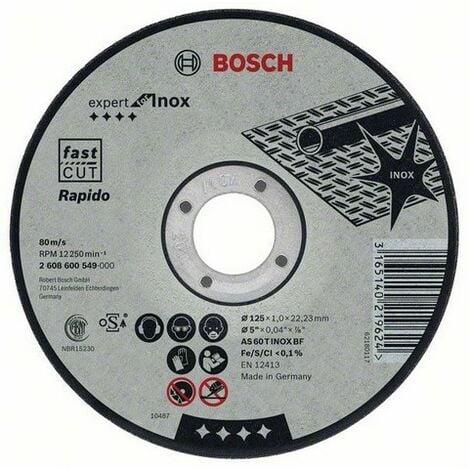Disque EXPERT à tronçonner BOSCH à moyeu plat Spécial inox 125X1.0 MM - 2608600549