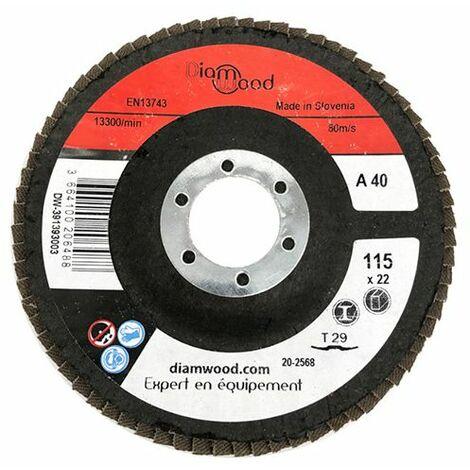 Disque/plateau bombé à lamelles corindon T29 D. 115 x 22,23 mm Gr 40 pour Métal, Bois - Diamwood - -
