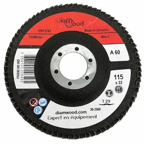 Disque/plateau bombé à lamelles corindon T29 D. 115 x 22,23 mm Gr 60 pour Métal, Bois - Diamwood - -