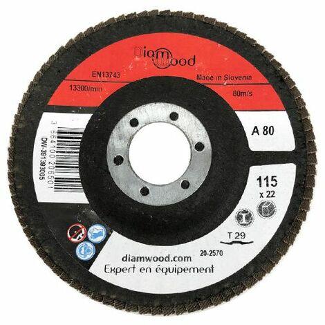 Disque/plateau bombé à lamelles corindon T29 D. 115 x 22,23 mm Gr 80 pour Métal, Bois - Diamwood - -