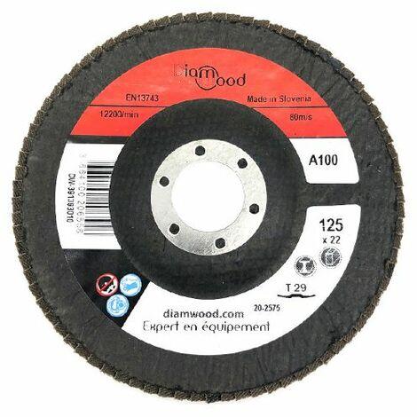 Disque/plateau bombé à lamelles corindon T29 D. 125 x 22,23 mm Gr 100 pour Métal, Bois - Diamwood - -