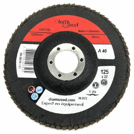 Disque/plateau bombé à lamelles corindon T29 D. 125 x 22,23 mm Gr 40 pour Métal, Bois - Diamwood - -