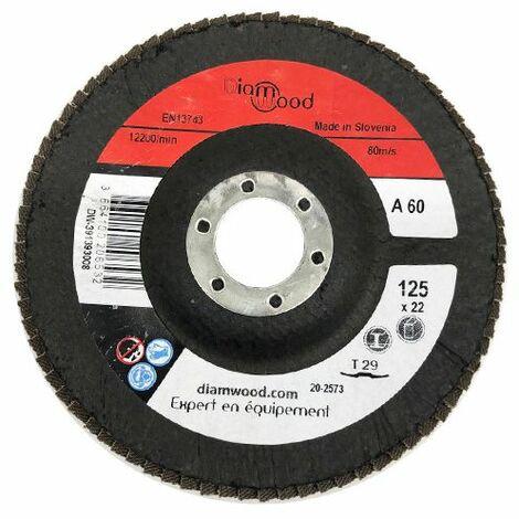 Disque/plateau bombé à lamelles corindon T29 D. 125 x 22,23 mm Gr 60 pour Métal, Bois - Diamwood - -