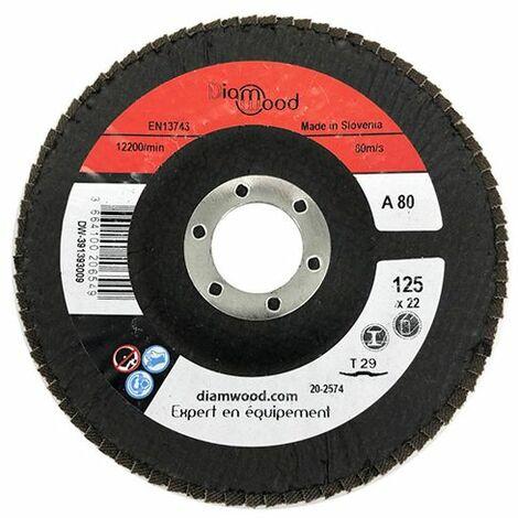 Disque/plateau bombé à lamelles corindon T29 D. 125 x 22,23 mm Gr 80 pour Métal, Bois - Diamwood - -