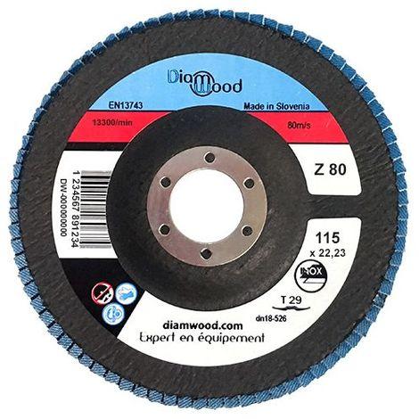Disque/plateau bombé à lamelles zirconium D. 115 x 22,23 mm Gr 80 pour INOX, ACIER - Diamwood - -