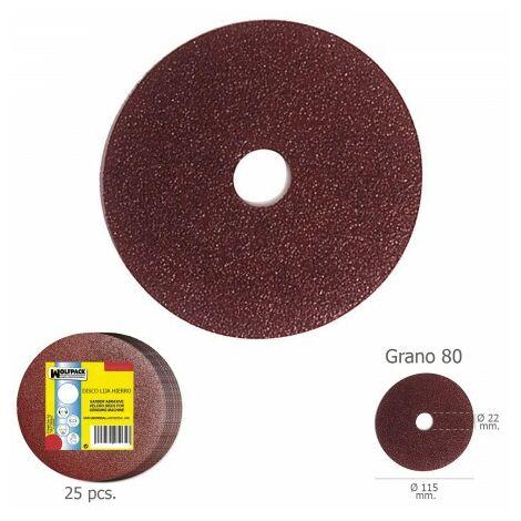 Disque ponceuse fer 115x22 mm. grain 80 (paquet de 25 unités)