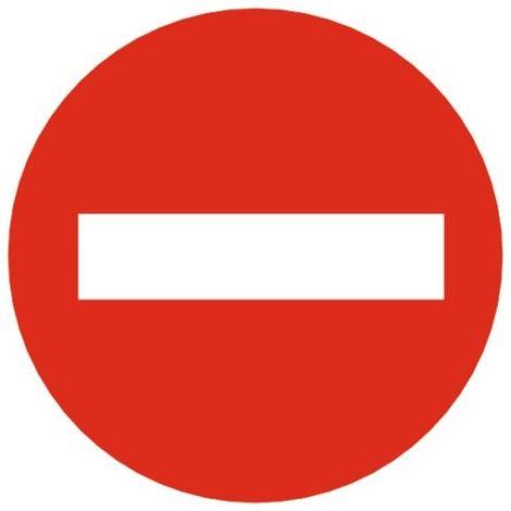 Disque rouge d'interdiction, diamètre 80 mm, désignation ''Sens interdit''