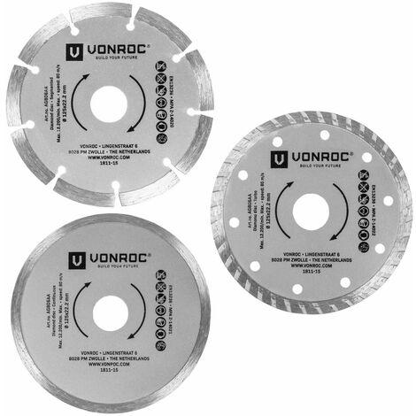 Lot de disques à tronçonner diamant universels - 3 pièces - Segmenté, Turbo et à bord plein - Ø 125 x 1,2 x 22,2 mm