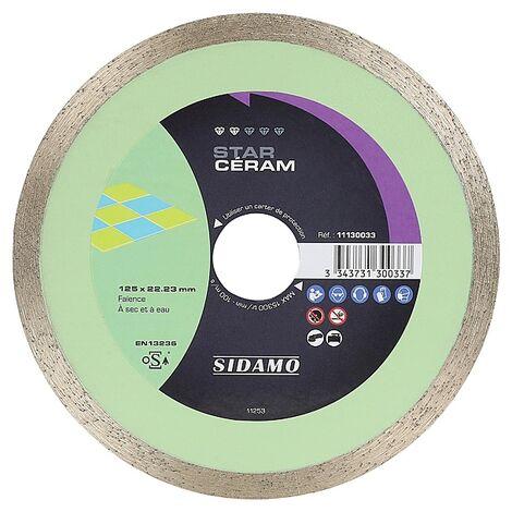 Disques diamants jante continue matériaux de décoration Star Céram diamètre 125 mm, épaisseur 1,6 mm, alésage 22,2 mm