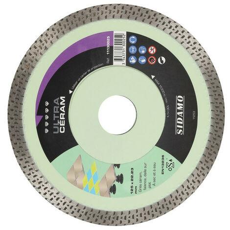 Disques diamants jante continue matériaux de décoration Ultra Céram diamètre 125 mm, épaisseur 1,4 mm, alésage 22,2 mm