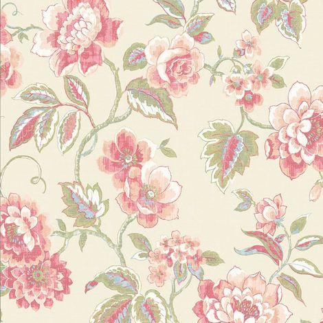 Distressed Flower Wallpaper Galerie Floral Plants Bloom Pink Green Beige