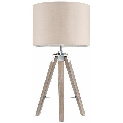 Distressed Tripod Table Lamp + 6W LED GLS Bulb - Beige - Brown