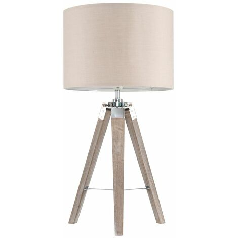 Distressed Tripod Table Lamp + 6W LED GLS Bulb - Black - Brown