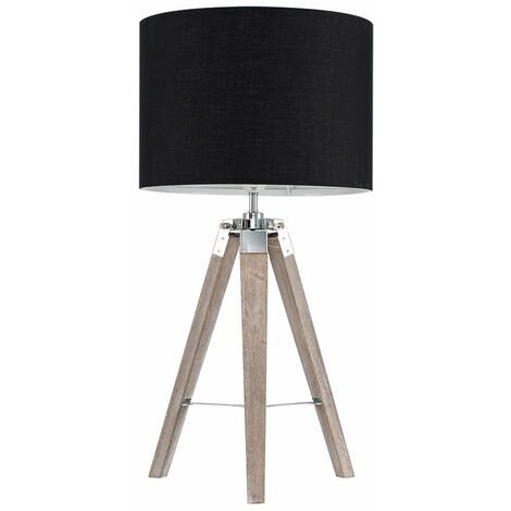 Distressed Tripod Table Lamp - Black - Brown